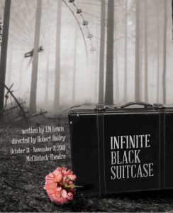 """Infinite Black Suitcase"" poster from USC production 2013."