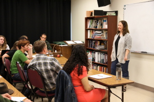 Teaching a playwriting workshop at PlayFest Santa Barbara in 2012.